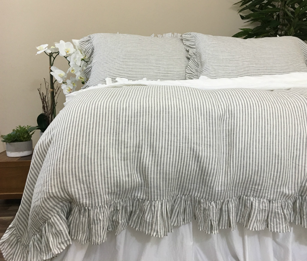 Grey and White Striped Duvet Covers Bedding