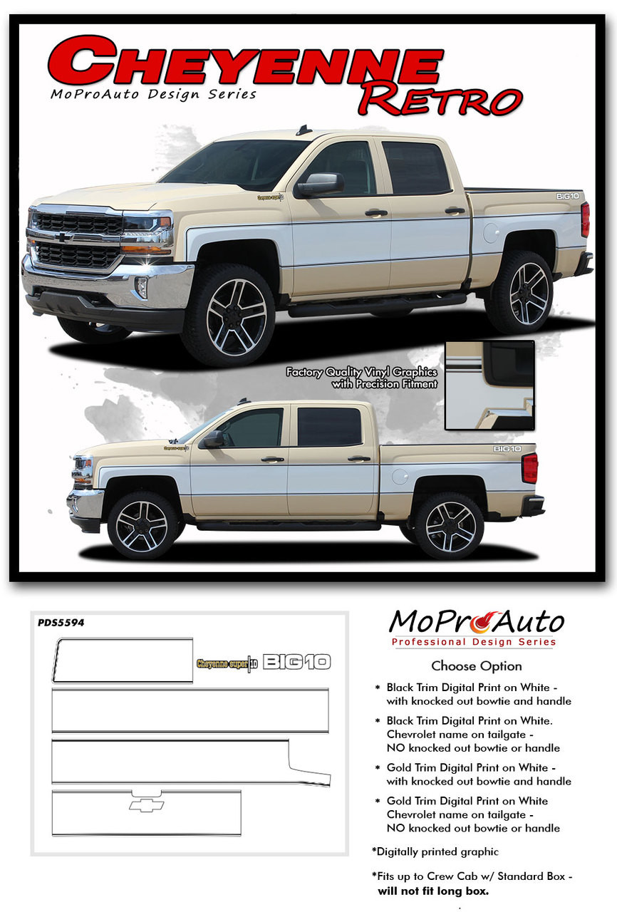 hight resolution of  cheyenne retro 2014 2018 chevy silverado mid body wrap accent graphic side vinyl