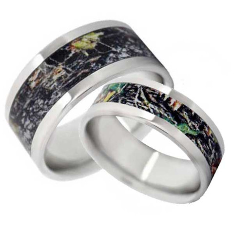Camo Wedding Band His And Hers Set Flat Vitalium Free