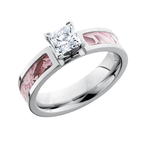 Pink Camo Princess Cut Diamond Engagement Ring Free