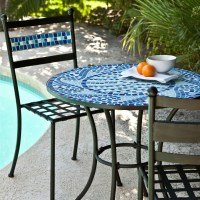 Outdoor 3-Piece Aqua Blue Mosaic Tiles Patio Furniture ...