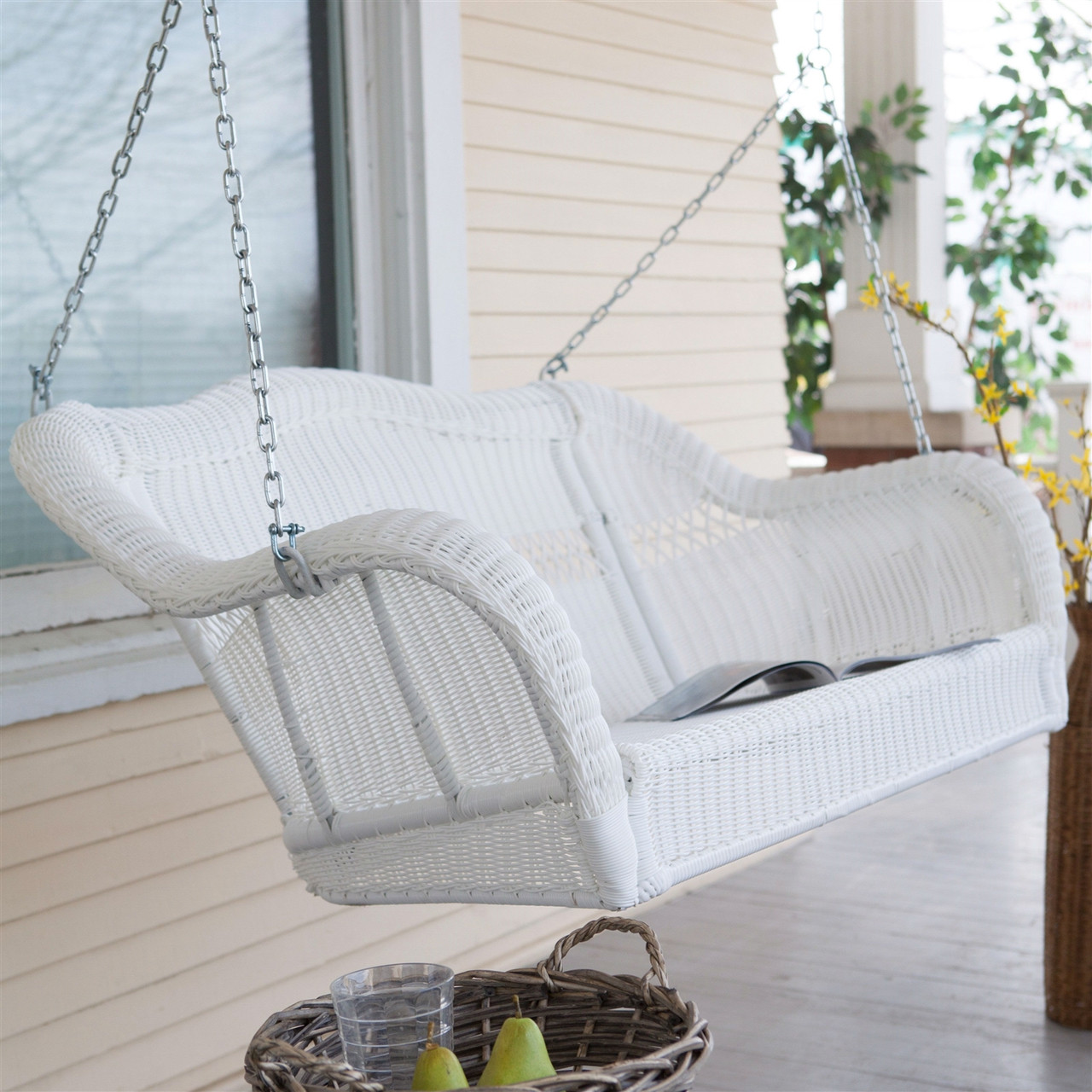 White Resin Wicker Porch Swing Hanging Chain - 600-lb