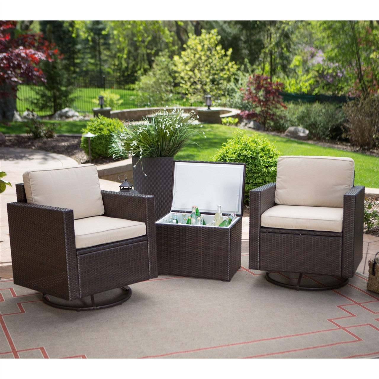 2 chairs and table patio set best computer chair ever wicker resin 3 pc furniture cooler