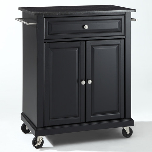 Black Mobile Kitchen Cart Island with Granite Top with