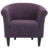 Contemporary Upholst. Club Arm Chair, Eggplant Purple