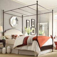 Queen size Metal Canopy Bed with White Cream Linen ...