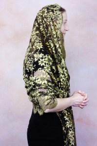 Gold Spanish Mantilla Shawl