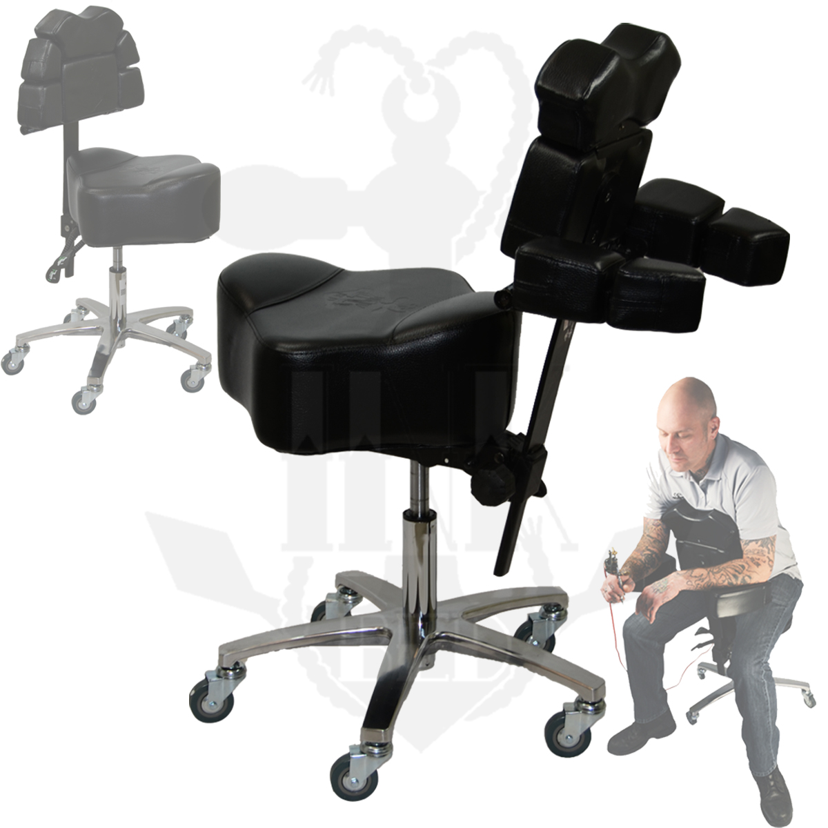tattoo artist chair fabric dining chairs uk inkchair and inkstool deluxe ergonomic client