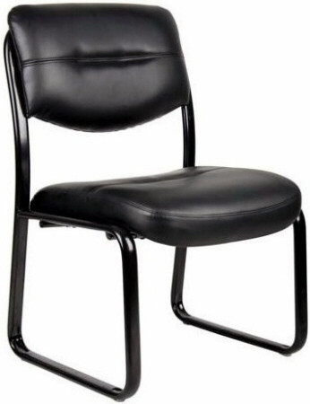 Boss Armless Leather Guest Chair with Sled Base  B9539