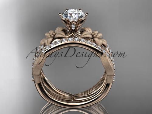 Unique 14kt Rose Gold Diamond Flower Leaf And Vine Wedding Ring Engagement Set