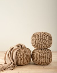 Chic Knitted Design Jute Pouf Ottoman, Natural, One Piece