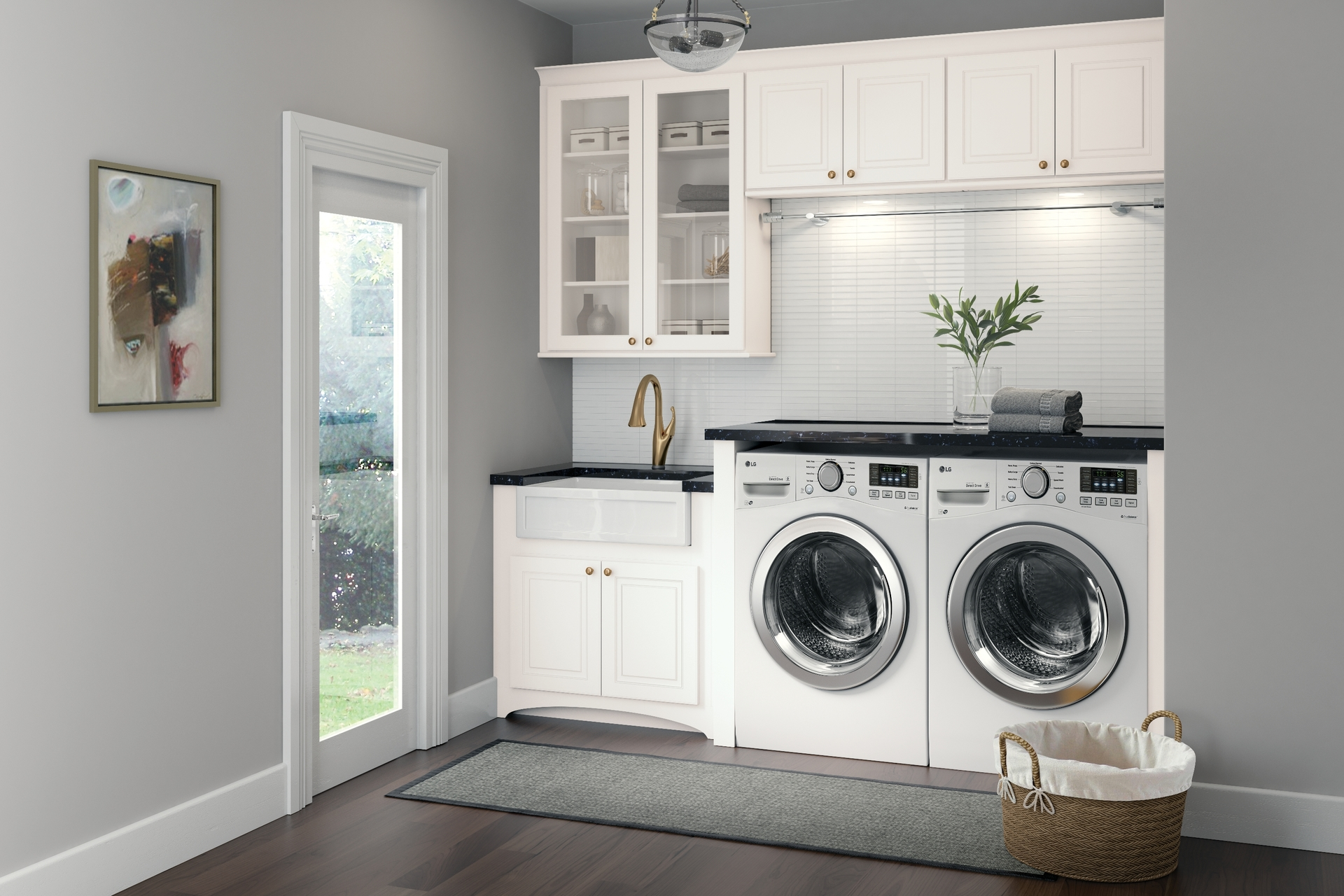 Cardell Kitchen Cabinets  Stubben in White Laundry Room
