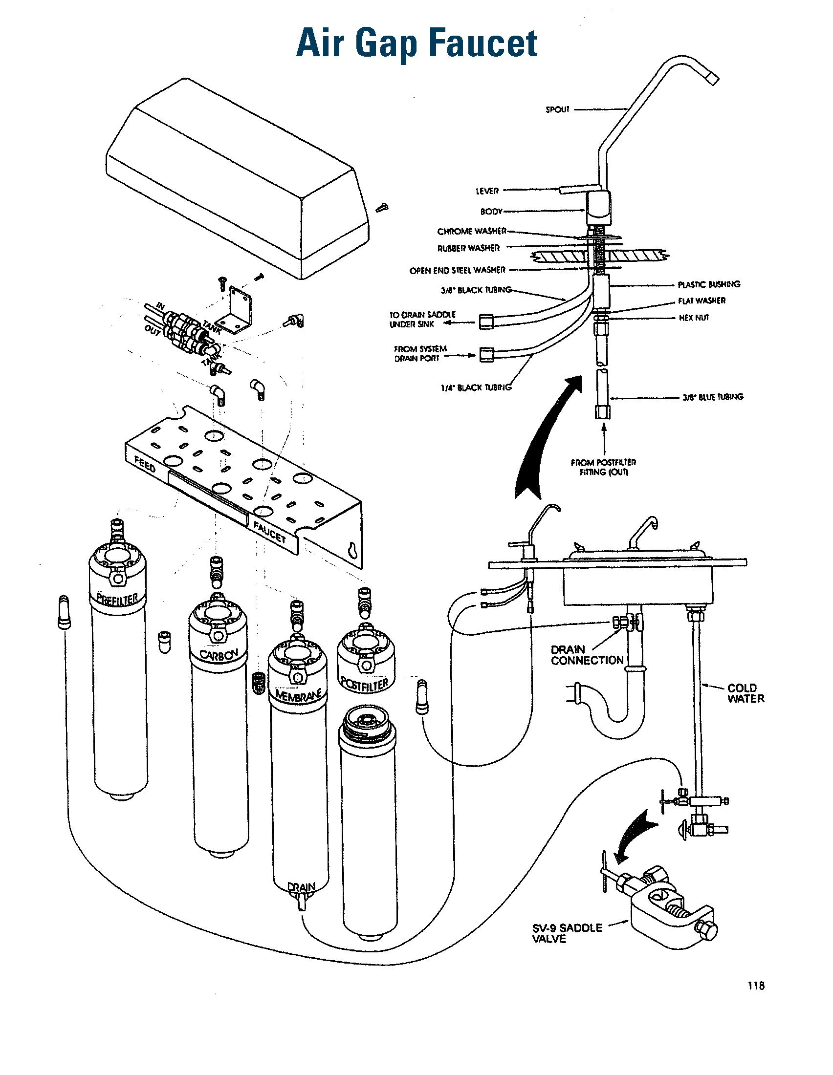 hight resolution of air gap faucet diagram