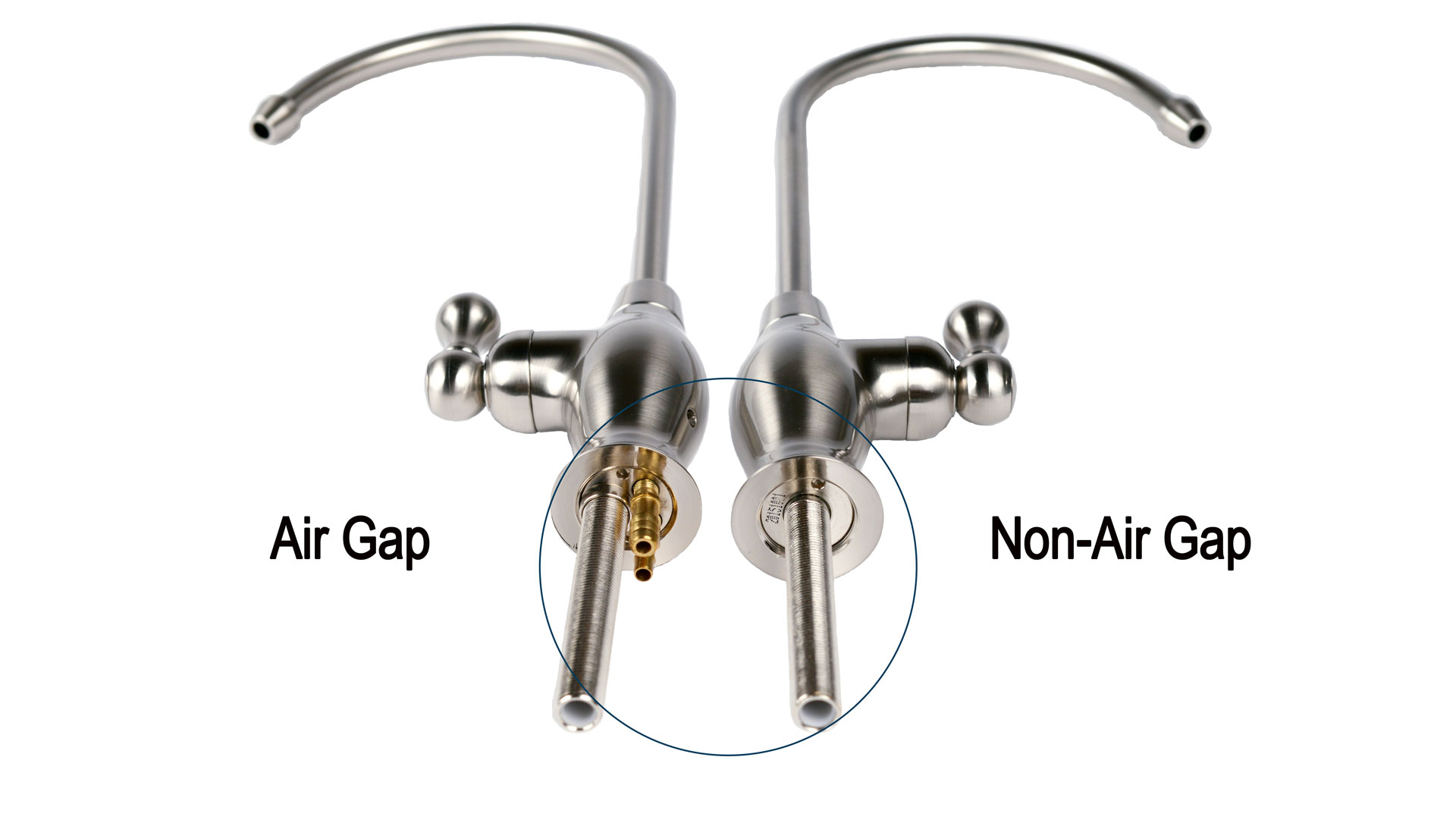 hight resolution of picture of an air gap faucet side by side a non air gap faucet