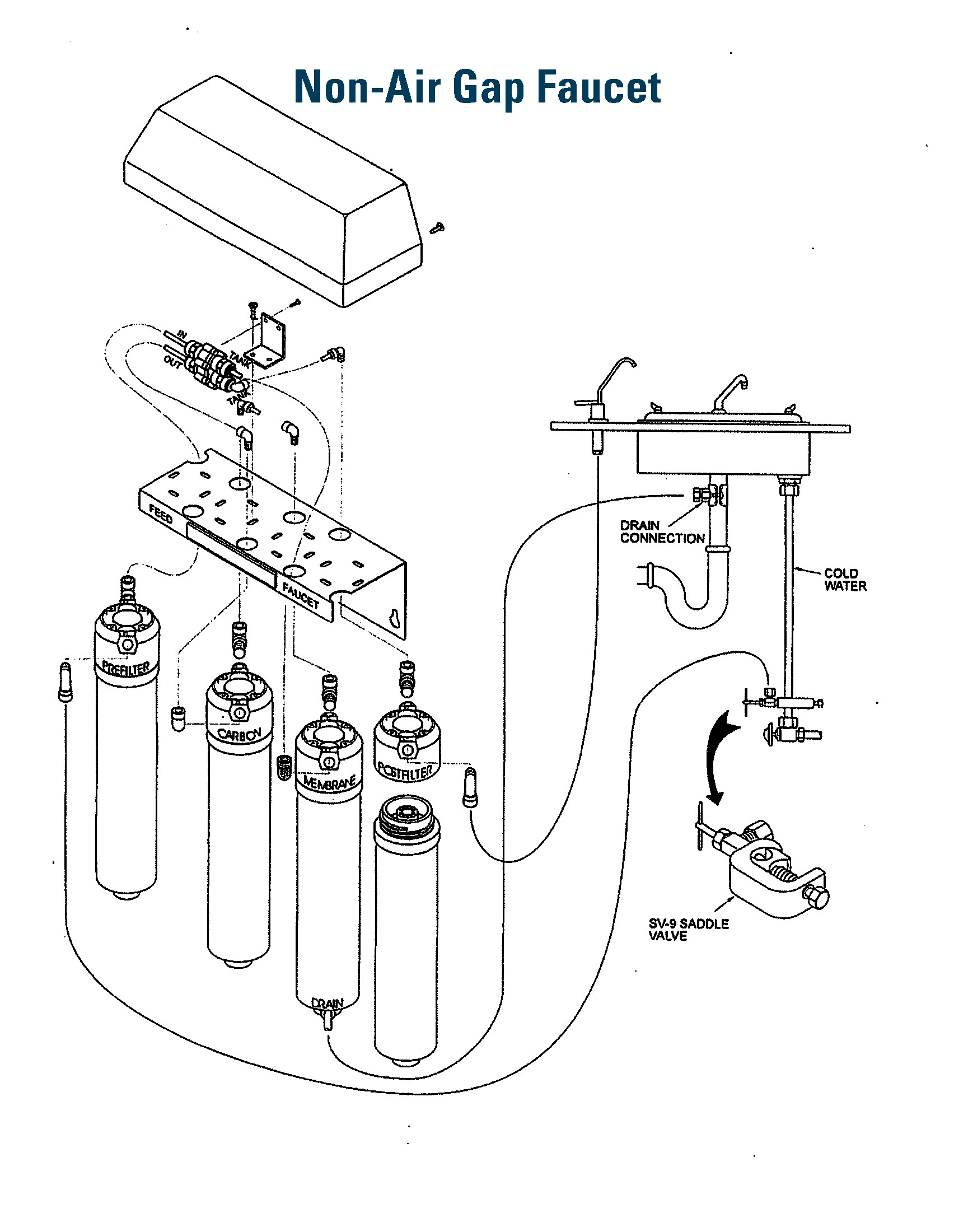 hight resolution of non air gap faucet diagram
