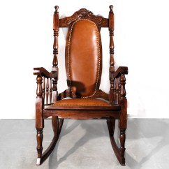 Antique Victorian Folding Rocking Chair Revolving With Price Sold Era Oak Leather 1890s