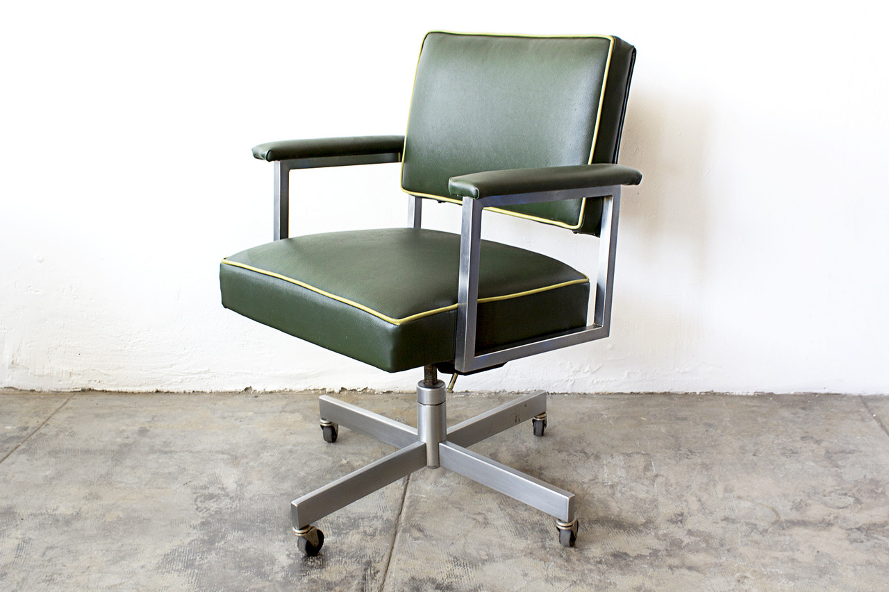 steelcase vintage chair simple wooden folding plans sold 1970s office refinished green