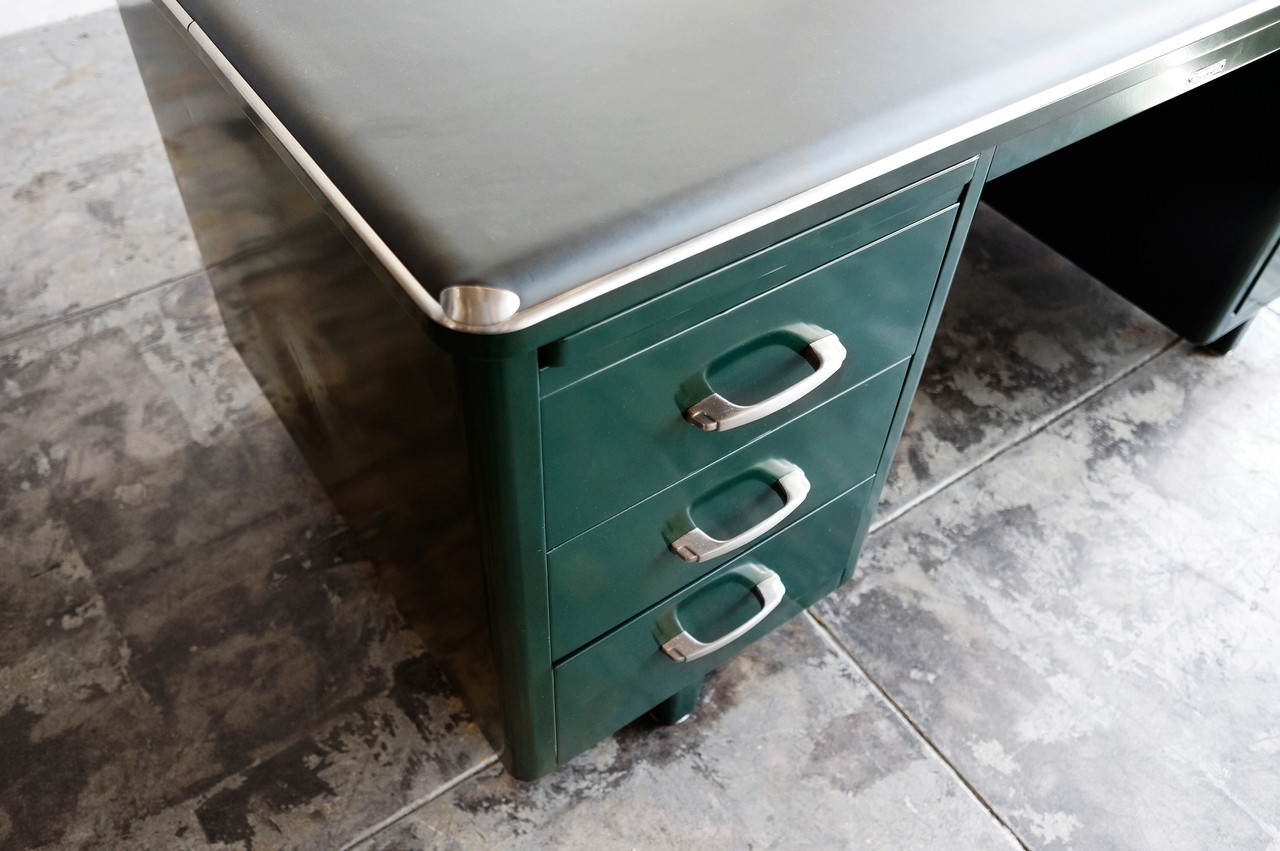 SOLD  McDowell Craig Deco Style Tanker Desk Refinished