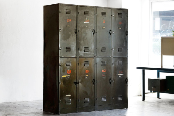 SOLD  Massive Vintage Locker Unit from the DOD c 1940s