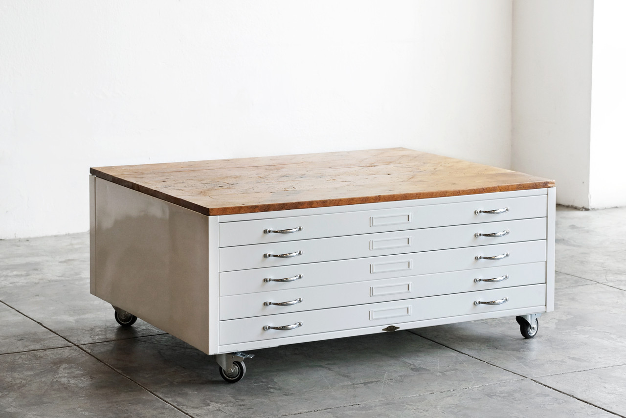 Spotted Repurposed Vintage Flat File Cabinets