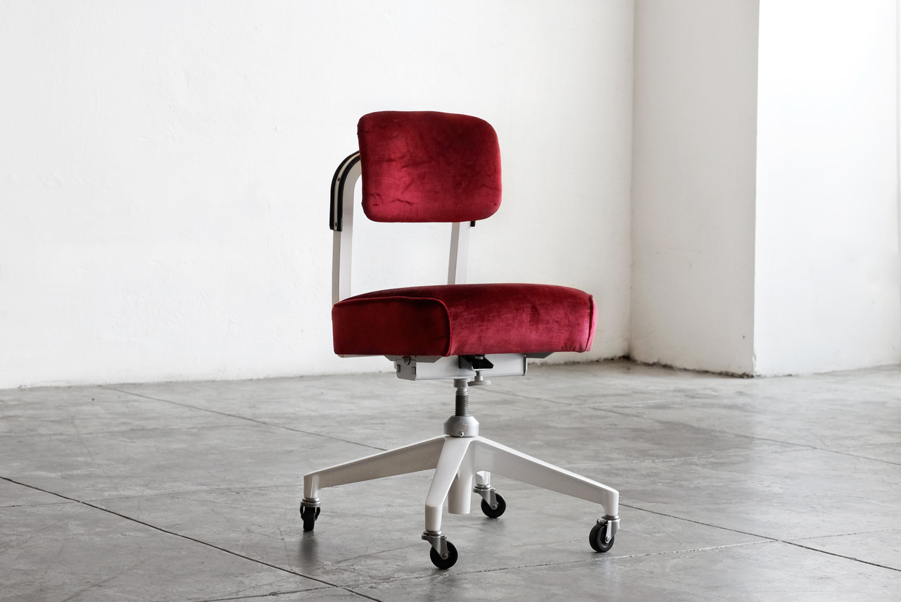red velvet office chair revolving accessories sold 1960s armless task by steelcase refinished