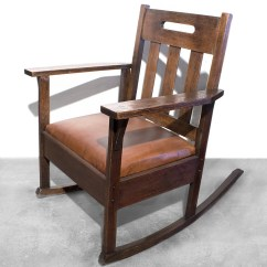 Brown Leather Rocking Chair Swivel Chairs Canada Sold Stickley Style With