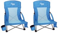 2 Beach Chairs w Cup Holder, Smart Phone Pouch, Carry Bag ...