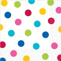 Rainbow Polka Dot Party Napkins - Fancy Me Limited