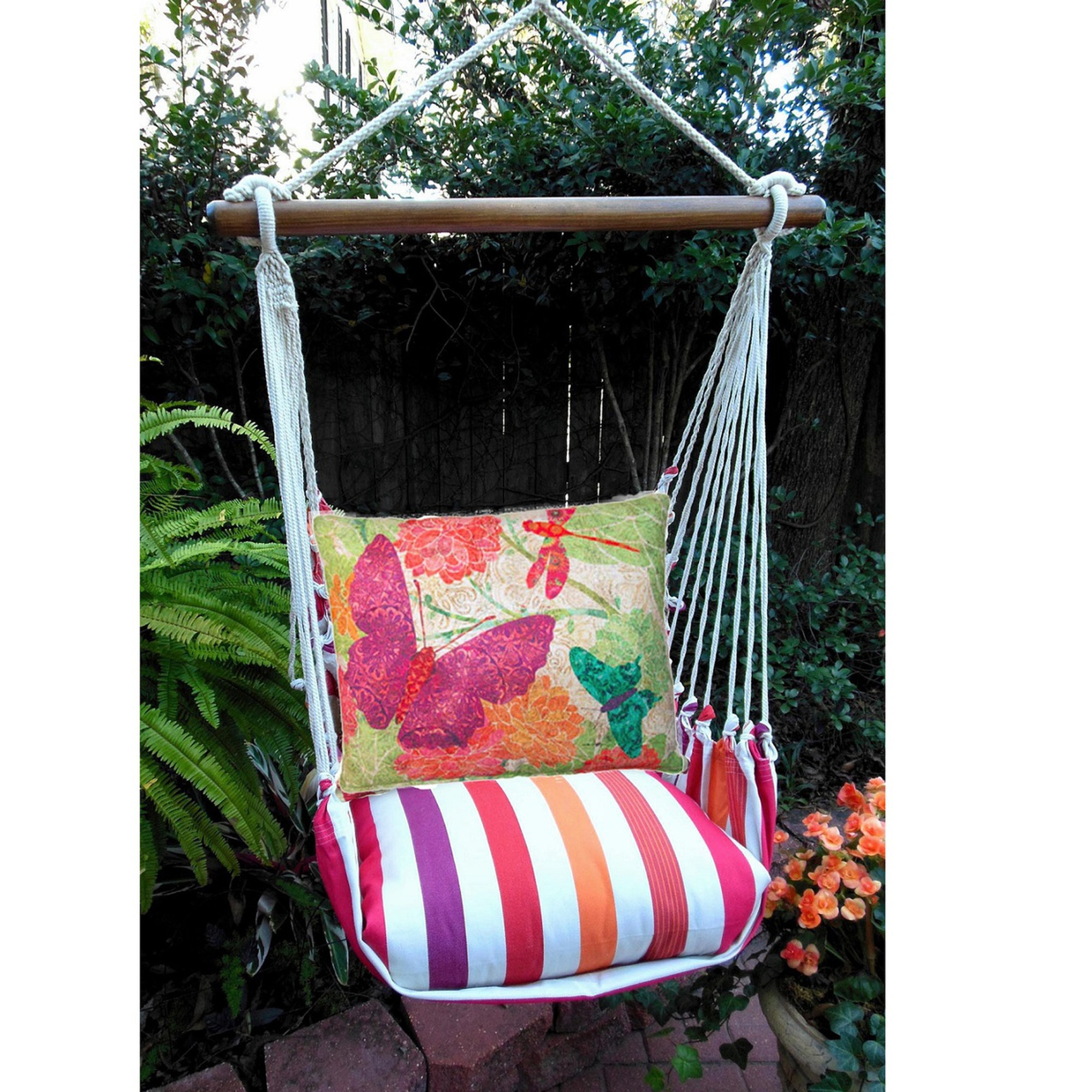 hanging chair big w outdoor sling covers butterfly multi striped hammock swing magnolia casual