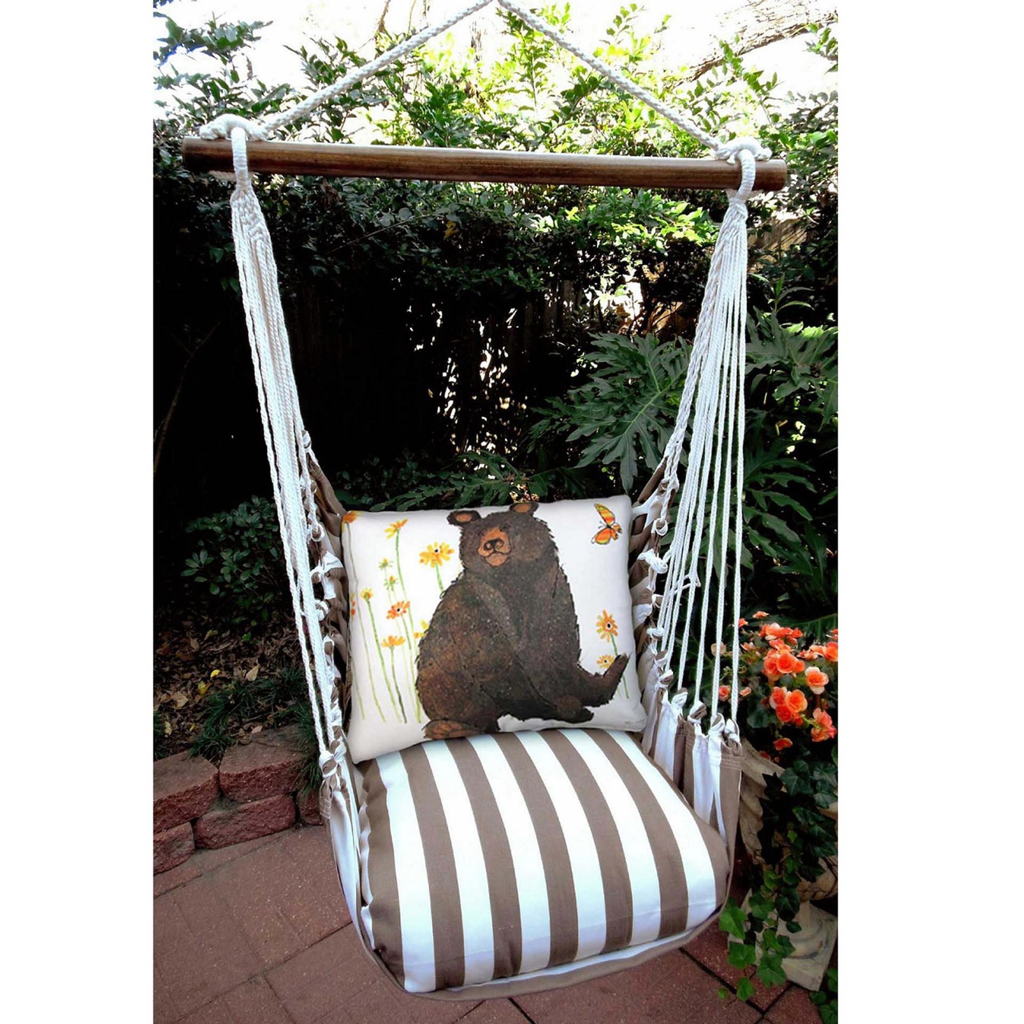 hanging chair big w all purpose salon chairs reclining white bear hammock swing magnolia casual
