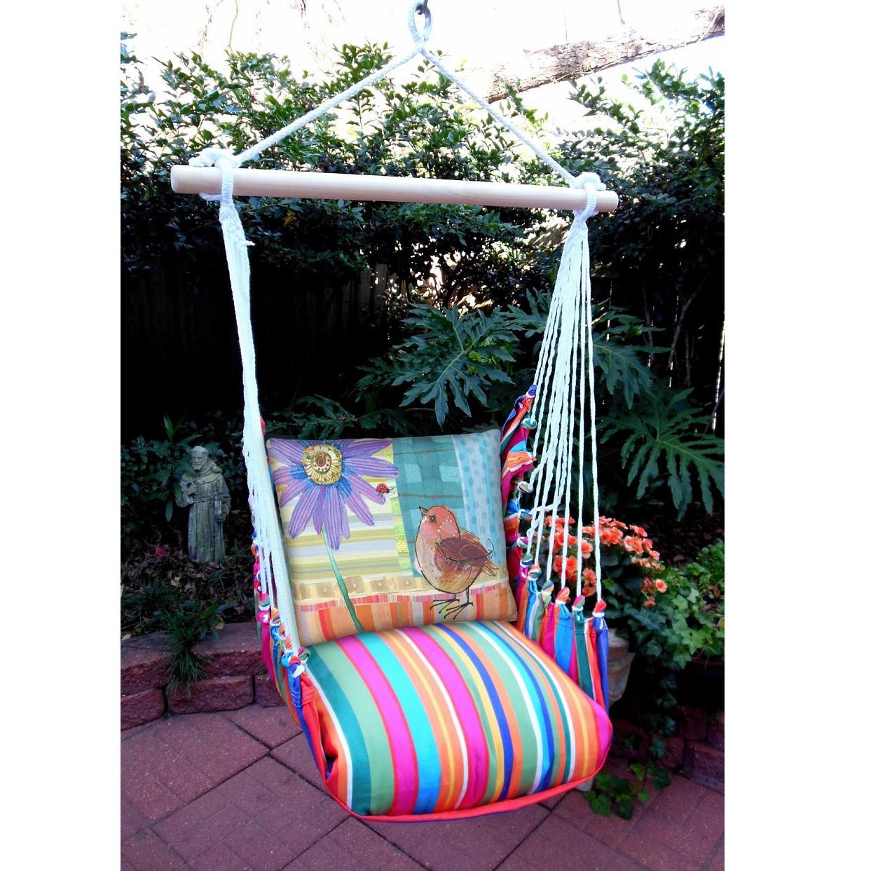 hanging chair big w tilt back bird and daisy hammock swing magnolia casual