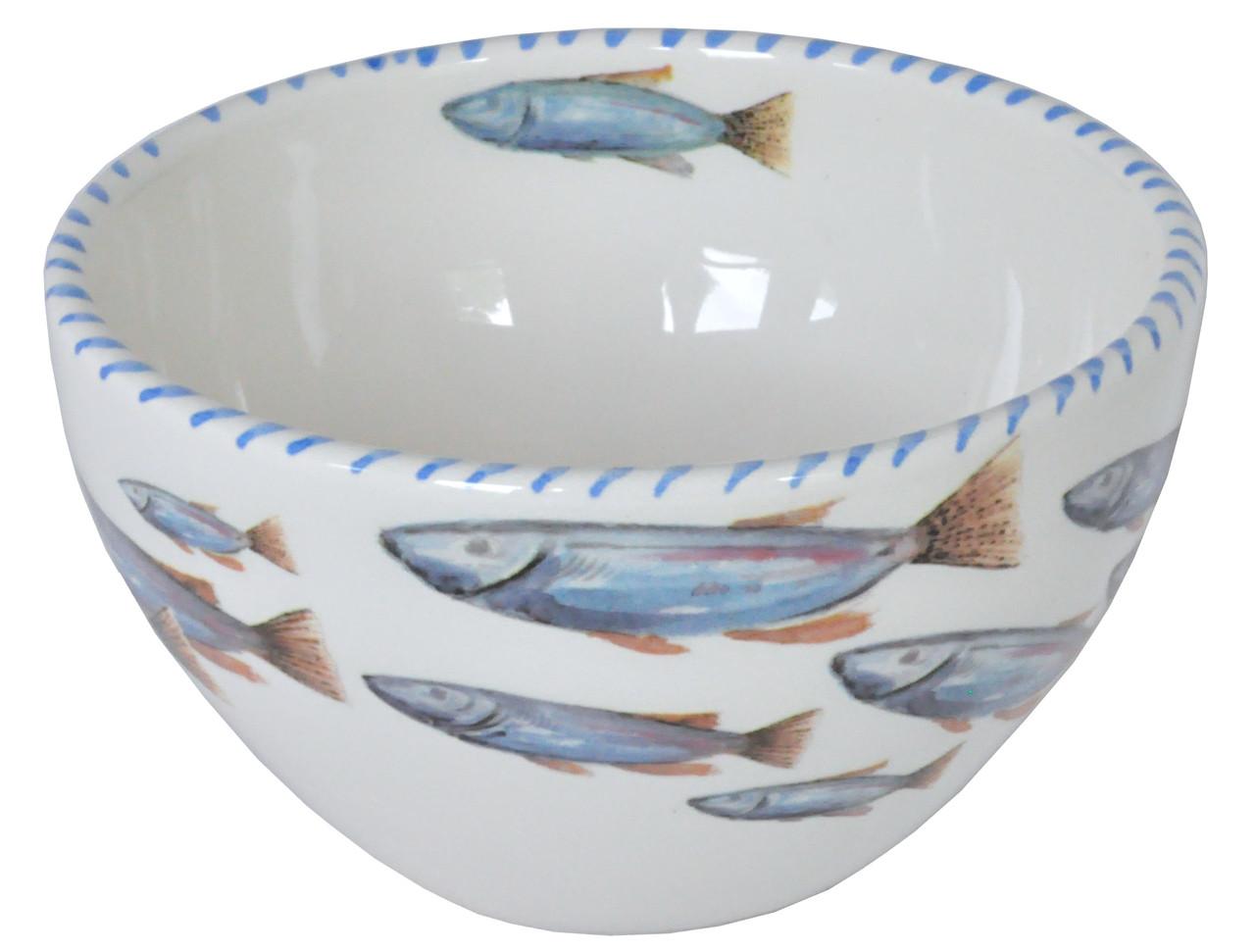 Blue School of Fish Soup Bowls  Set of 6