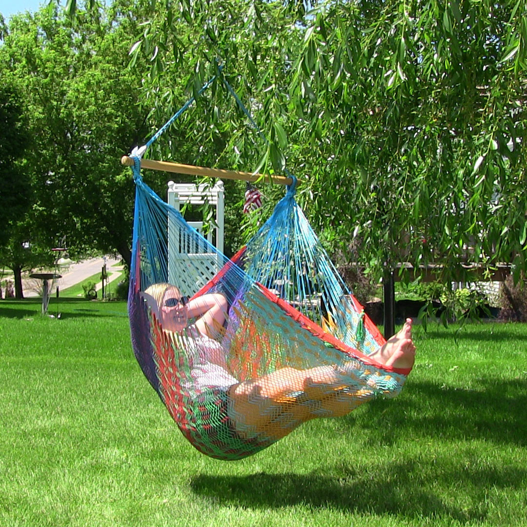 hanging chair big w wedding covers derbyshire sunnydaze large mayan hammock wood bar
