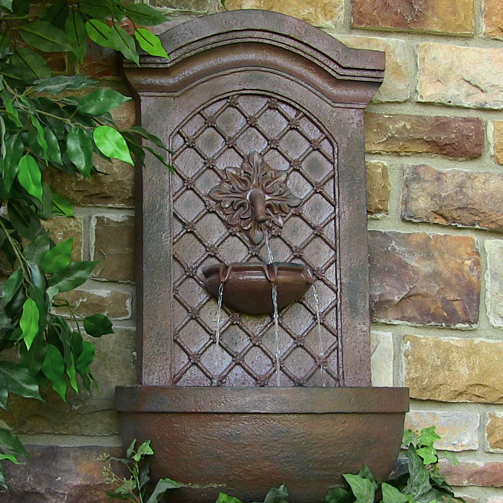 Sunnydaze Decor Rosette Leaf Outdoor Wall Fountain