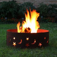 Sunnydaze Rustic Stars and Moons Fire Pit Ring - 30""