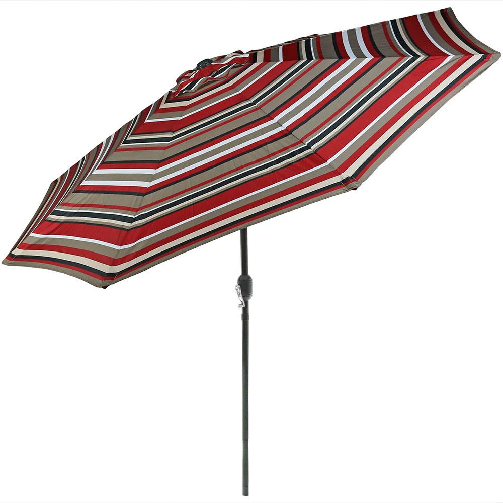 Sunnydaze Striped Aluminum Patio Umbrella 9