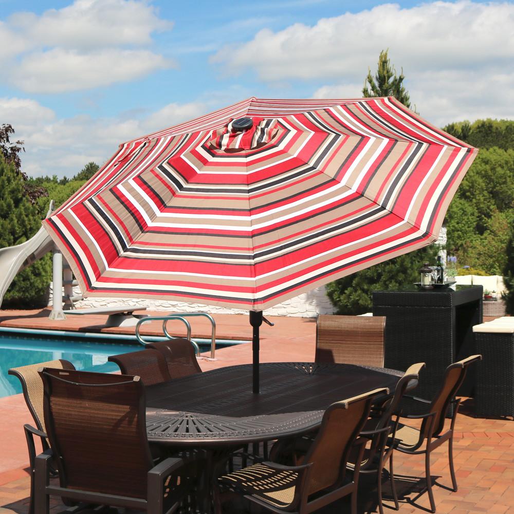 Striped Led Light Patio Umbrella With Tilt 9