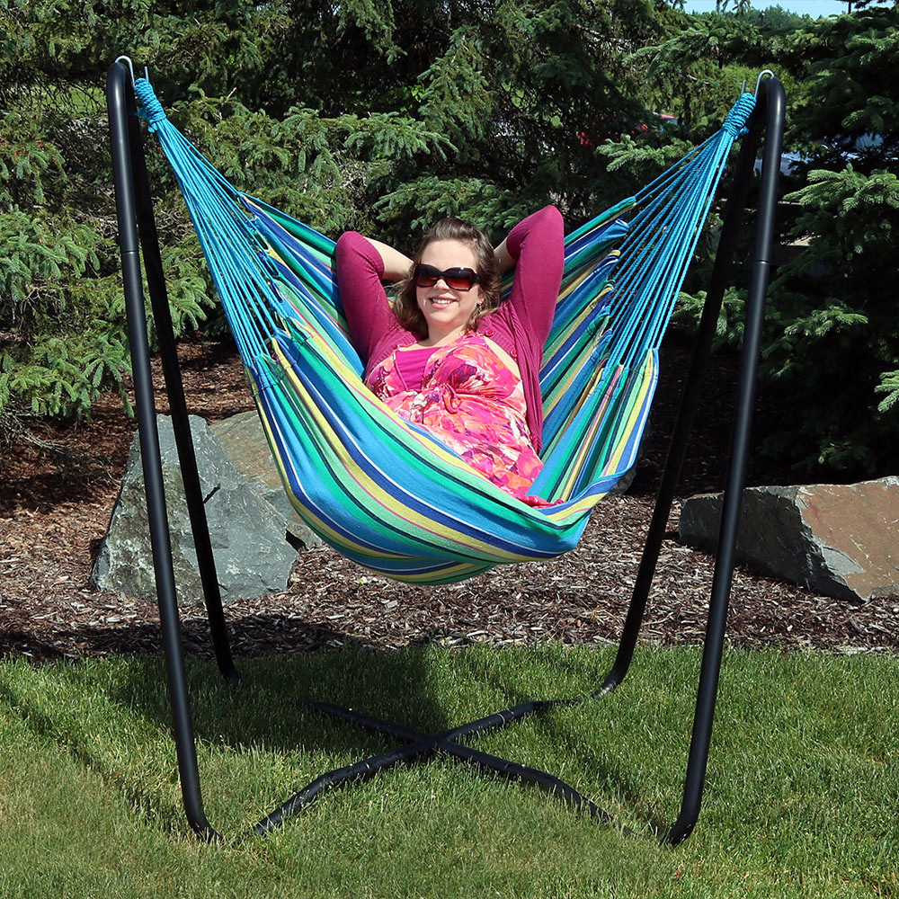 hanging chair game comfortable living room chairs sunnydaze 2-point hammock swing and a-stand set, for indoor or outdoor use ...