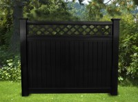 BLACK VINYL PRIVACY LATTICE TOP FENCE 6 FT X 6 FT