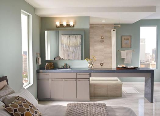 kitchen cabinet hardware trends flush mount fluorescent lighting maple bathroom in pebble grey - kraftmaid