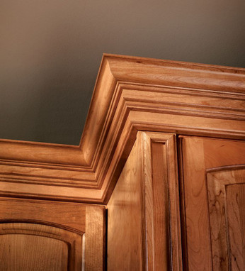 computer chair parts accessories covers homebase classic crown molding in honey spice cherry - kraftmaid