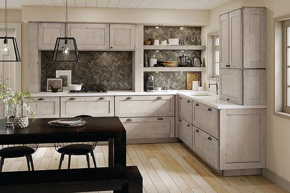 Maple Kitchen In Aged Concrete KraftMaid