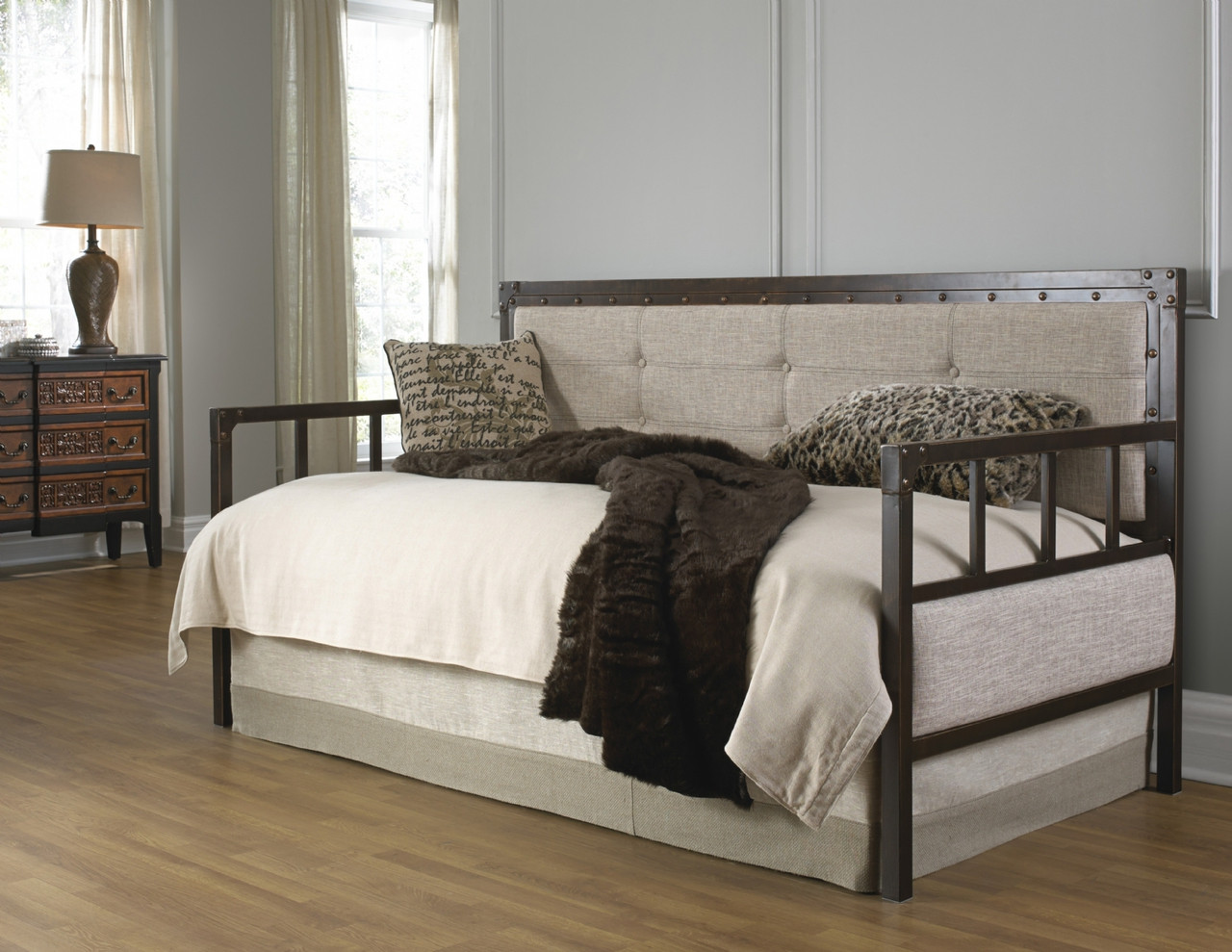 Fashion Bed Group Gotham Metal Upholstered Daybed In