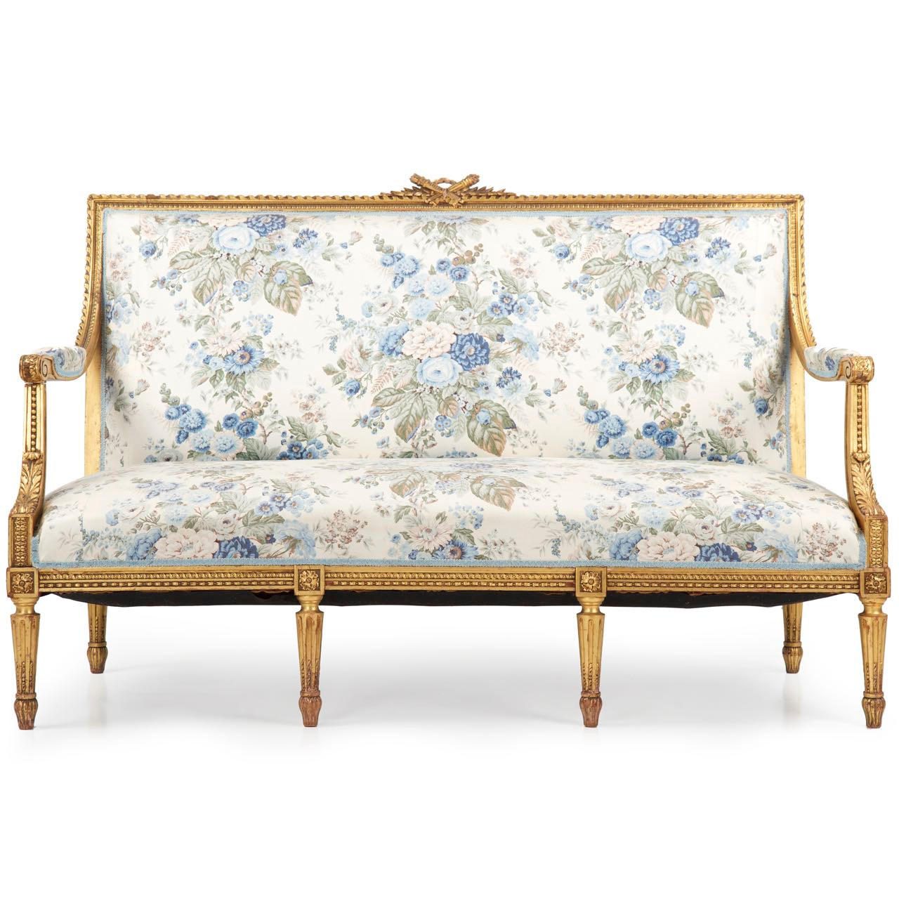 Big Sofa Vintage Look French Louis Xvi Carved Giltwood Antique Settee C 1900