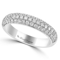 14K White Gold Pave Set Diamond Wedding Band