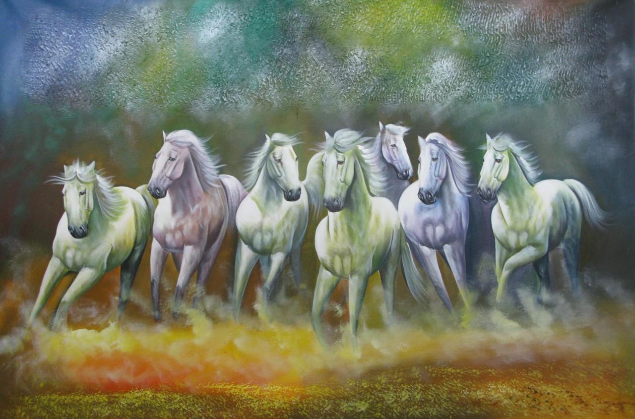 7 Good Luck Horses Rajmer01 36in X 24inRAJMER493624