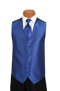 Jean Yves Openback Vest and Tie Set in Royal Blue