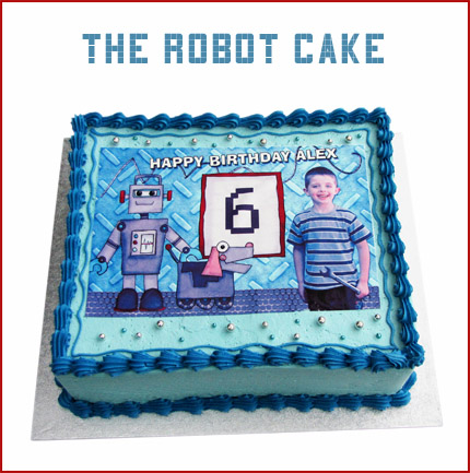 Robot themed kids birthday cake