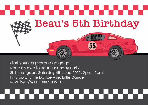 Race car themed boys party invitation with checkered flag