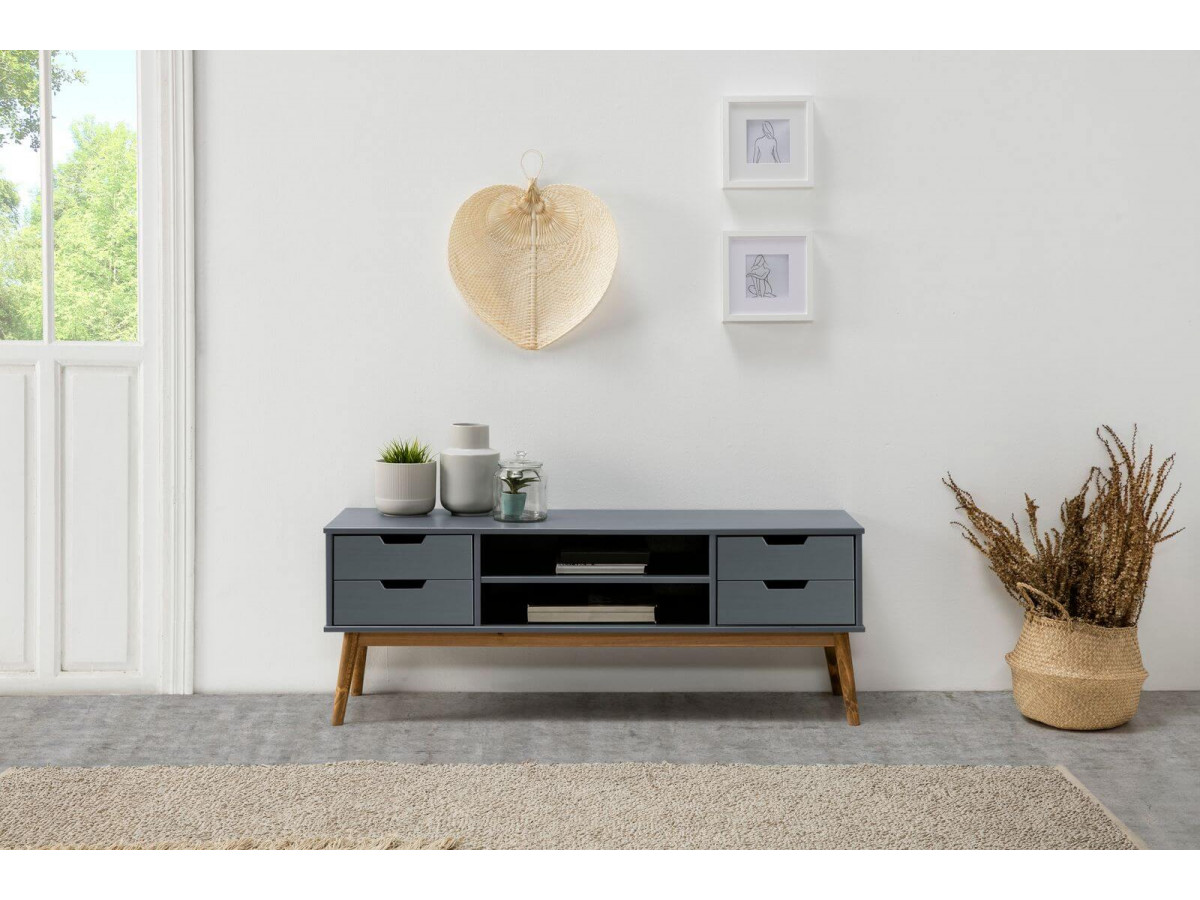 meuble tv 140 cm alma gris et bois clair